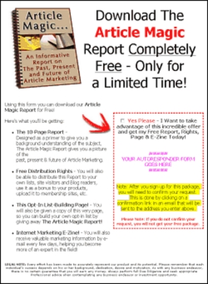 Product picture The Article Magic Report with PLR